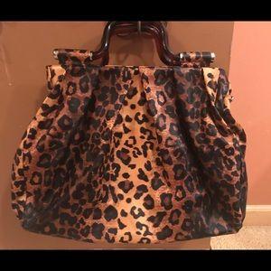 Melie Bianco vegan leather leopard print bag